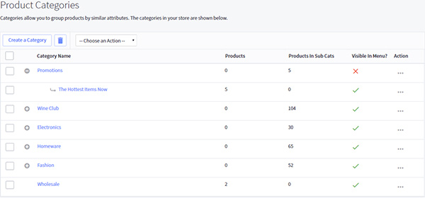 Hidden category view in BigCommerce control panel
